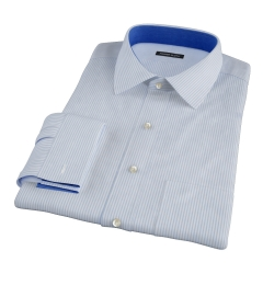 Thomas Mason 120s Light Blue Stripe Fitted Dress Shirt