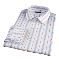 Albini Blue Folk Stripe Men's Dress Shirt
