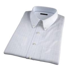 Verona Light Blue 100s Border Grid Short Sleeve Shirt
