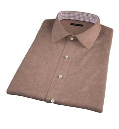 Canclini Camel Mini Herringbone Flannel Short Sleeve Shirt