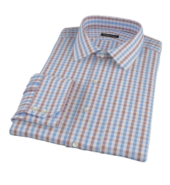 Thomas Mason Brown Gingham Dress Shirt