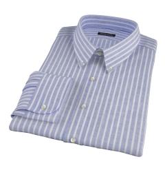 Marine Blue Cotton Linen Stripe Men's Dress Shirt