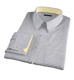 Albini Blue Yellow Horizon Stripe Fitted Shirt