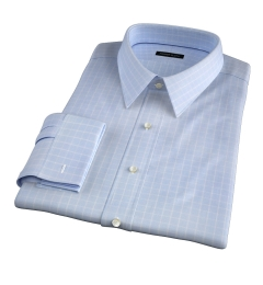 Thomas Mason Goldline Light Blue Box Check Fitted Dress Shirt