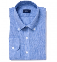 Blue Cotton Linen Houndstooth Fitted Dress Shirt