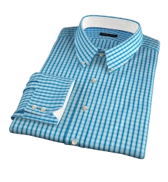 Canclini 140s Azure Grid Fitted Shirt