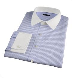 Canclini 140s Blue End-on-End Stripe Custom Dress Shirt