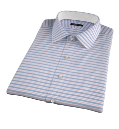 Albini Red Blue Horizon Stripe Short Sleeve Shirt