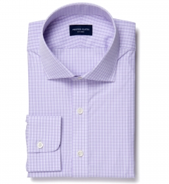 Trento 100s Lavender Check Fitted Shirt