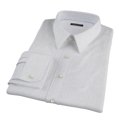 Albini Navy Blue Tattersall Custom Dress Shirt