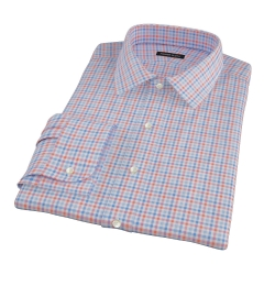 Thomas Mason Orange and Blue Check Fitted Shirt