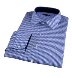 Melrose 120s Royal Blue Mini Gingham Dress Shirt
