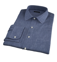 Albini Slate Blue Delave Fitted Dress Shirt