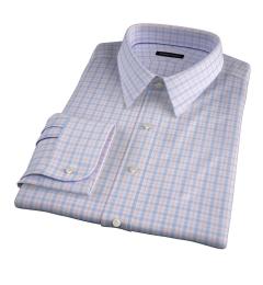 Novara Blue and Orange Check Fitted Dress Shirt