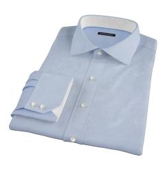 Canclini Light Blue Herringbone Fitted Dress Shirt