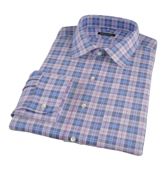 Red and Blue Plaid Fitted Dress Shirt