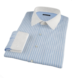 Light Blue Cotton Linen Stripe Fitted Dress Shirt