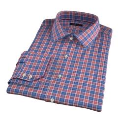Sullivan Orange Melange Check Fitted Dress Shirt