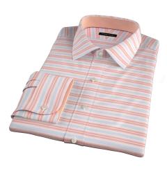 Albini Orange White Horizon Stripe Fitted Shirt