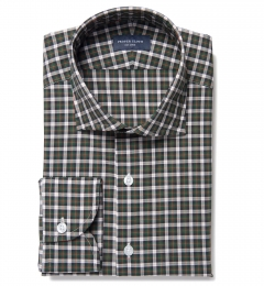 Lorimer Green and Orange Plaid Fitted Shirt