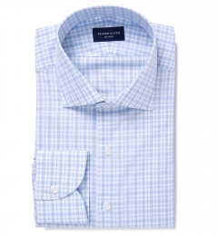Novara Light Blue Check Custom Dress Shirt