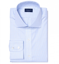 Thomas Mason Goldline Light Blue Check Custom Dress Shirt