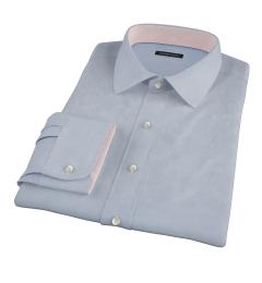 Light Blue Wrinkle Resistant Rich Herringbone Fitted Shirt