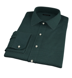 White on Green Printed Pindot Tailor Made Shirt