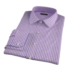 Grandi and Rubinelli 120s Red Blue Check Fitted Dress Shirt