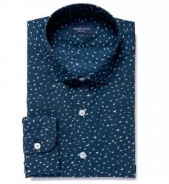 Dark Blue Sparrow Print Custom Dress Shirt