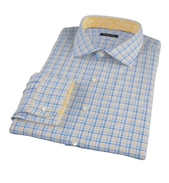 Thomas Mason Yellow Blue Check Fitted Dress Shirt