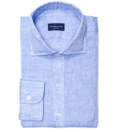 Sky Blue Linen Men's Dress Shirt