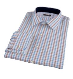 Thomas Mason Brown Gingham Dress Shirt