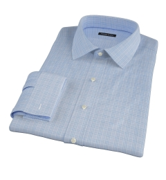 Thomas Mason Light Blue Glen Plaid Fitted Dress Shirt