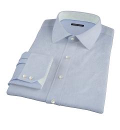 Thomas Mason Luxury Blue Mini Grid Custom Made Shirt