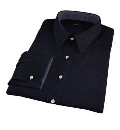 Black Cotton Linen Oxford Custom Made Shirt