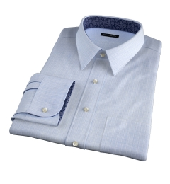 Lazio 120s Blue Multi Grid Custom Dress Shirt
