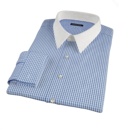Blue Wrinkle Resistant Bordered Check Men's Dress Shirt