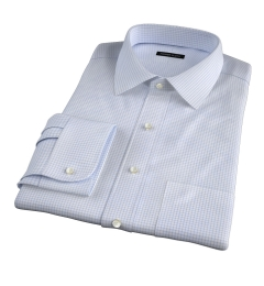 Thomas Mason Goldline Light Blue Check Fitted Dress Shirt