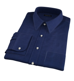 Portuguese Vintage Navy Cotton Linen Herringbone Fitted Shirt