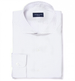 Navy on White Printed Pindot Dress Shirt