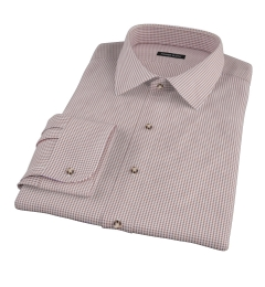 Canclini Brown 120s Mini Gingham Fitted Shirt