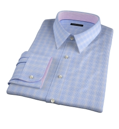Blue Wrinkle-Resistant Prince of Wales Check Custom Made Shirt