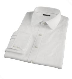 White Fine Cotton Linen Fitted Dress Shirt