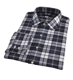 Canclini Grey Plaid Beacon Flannel Dress Shirt