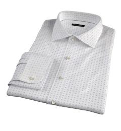 White and Blue Mosaic Print Custom Made Shirt