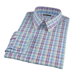 Green Brown Summer Plaid Fitted Shirt