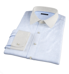140s Light Blue Wrinkle-Resistant Bengal Stripe Fitted Shirt