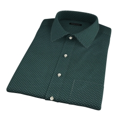 White on Green Printed Pindot Short Sleeve Shirt