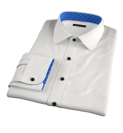 Navy on White Printed Pindot Fitted Dress Shirt